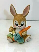 Vintage Hand Painted Russ Berrie Easter Bunny Painting a Carrot Figurine #1048