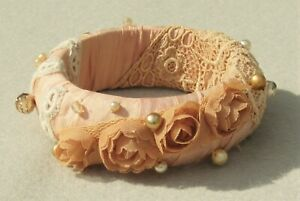 Handmade Bangle in Peach Pure Silk, with Pearls and Glass Beads and Flowers B25