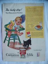 VTG Magazine Carnation Milk Ad 1942 Original Print LUCKY DOG Black Terrier Baby