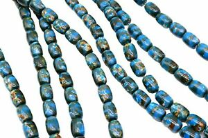 50 Blue Multi Color Tube Barrel Beads, Jewelry Making 10 x 7 mm Vintage