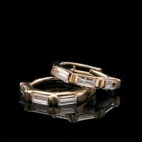 Beautiful 1.3Ct Straight Baguette Diamond Huggie Earrings 14K Yellow Gold Over