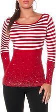 SeXy Damen Pullover Pulli Stripes Strasssteinchen 34/36/38 TOP rot /weiß NEU