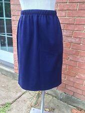 Vintage High Waist Ribbed Knit Knee Length Pull On Straight/Pencil Skirt