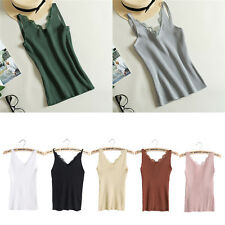 Women Plain Camisole Lace Splicing Double V-neck Vest Slim Sling Tank Tops New