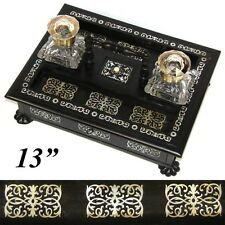 """Antique Victorian Boulle Style 13"""" Inkstand or Inkwell, Ebony & Mother of Pearl"""