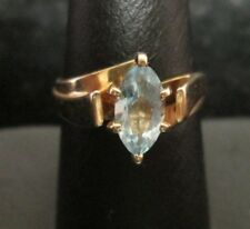 14K YELLOW GOLD BLUE TOPAZ RING SIZE 6.75