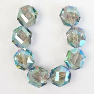 8Pcs/Set 10x7mm Faceted Blue Crystal Polygon Pendant Bead M48363