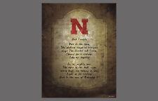 Nebraska Huskers Football HAIL VARSITY Fight Song Premium NCAA Poster Print