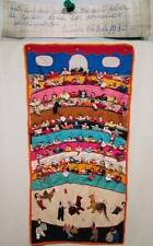 Vtg 80s PERUVIAN Wall Hanging Dated 1986 Arpillera 93 Figure People Animal 39x19