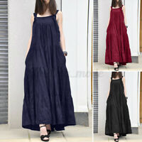 Womens Sleeveless Square Neck Layered Sundress Flare A Line Baggy Overall Dress