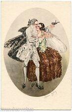 illustrateur signé . Type Carnaval . Couple . Costume .