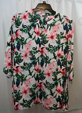 Women's Vince Camuto Floral 3/4 Sleeve  Shirt 2X