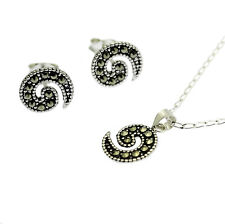 Marcasite Pendant Necklace & Earring Set Solid Sterling Silver Swirl Design