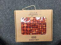 4pcs Full Size Organic Cotton Bed Sheet Set 600 TC, Orange Dot