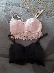 2 x Lacey bralette bra tops with adjustable straps size 12 peace & grey 💕
