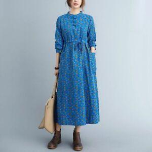 Retro Womens Long Shirt Dress Printed Floral Drawstring Linen Cotton Maxi Robe D