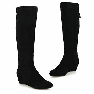Womens Leather Knee High Mid Wedge Heel Zip Up Winter Riding Boots Shoes Size