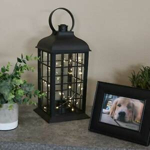 Sunnydaze Oyster Bay Indoor Battery-Powered Lantern with LED Lights - 13-Inch