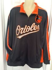 BALTIMORE ORIOLES Mens Jacket 3XL Coat Embroidered Logo Full Zip Majestic Gray