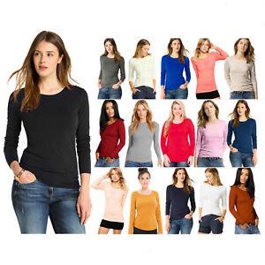 Womens Ladies Basic Long Sleeve Plain Round Neck Stretch Top T - Shirt Plus Size