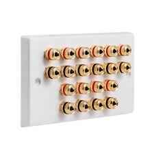 Speaker Wall Plate 10.0 20 Gold Binding Posts AV Audio Non-solder