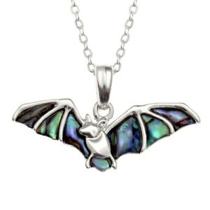 Bat Necklace Paua Abalone Shell with Chain - Gift Boxed