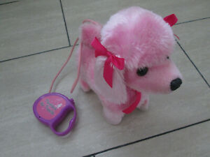 PINK FLUFFY DOG TOY ON LEAD