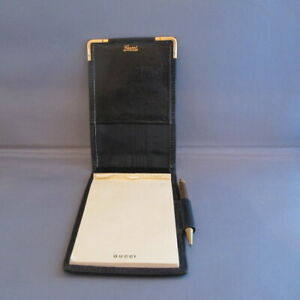 RARE 70's VINTAGE GUCCI BLACK NOTEPAD WITH PEN/PENCIL works!