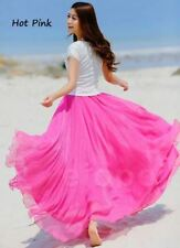 UK Women Beach Party Chiffon Pleated Long Maxi Skirt Dress Hot Pink