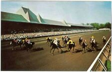 SARATOGA RACECOURSE, THOROUGHBRED HORSE RACING COMING DOWN THE STRETCH POSTCARD