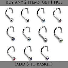 Small Gem Surgical Steel Crystal Nose Stud Screw Type Various Colours UK Seller