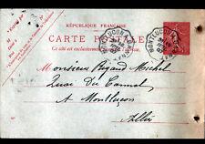 MONTLUCON à GANNAT (03) Carte-Commande Oblitération Postale FERROVIAIRE Ambulant