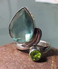 925 silver cut green fluorite & peridot gemstone ring UK M/US 6.25-6.5