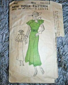 1930's New York Sewing Pattern 502 FANCY Day Dress SIZE 14