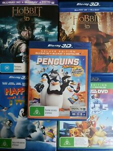 Five BLU-RAY 3D Pack The Hobbit (2), Penguins, Happy Feet 2, Ice Age 5