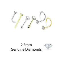 L Bend Screw Yellow Gold White Gold 2.5mm Genuine Real Diamond Nose Ring Stud