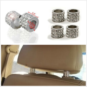 4Pcs Silver Rhinestone Style Collar Ring Universal Fit For Car Headrest Decor