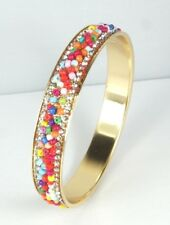 Gold multi coloured beaded bangle with clear crystal accents