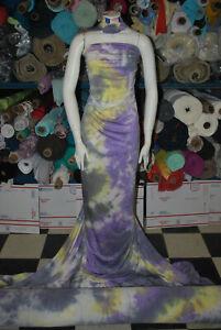 TieDye Rayon Strech Jersey Knit Fabric Beautiful Violet yellow combo by the yard
