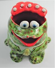 Whimsical Frog Colorful Ceramic Art Vessel for Pencils, Tooth Brush, Other Stuff