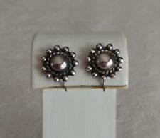 Vintage Antique Sterling Silver Earrings Center Dome Rope Beaded Edge Screw Back