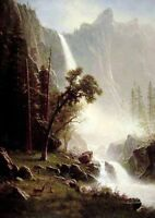 Art Oil painting Albert Bierstadt a view Bridal Veil Falls Yosemite canvas 36""