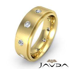 Round Diamond Eternity Men 9mm Wedding Band 18k Yellow Gold Step Edge Ring 0.6Ct