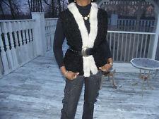 Nwot New Black Persian Lamb & Mink fur Vest Coat S-M