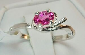 Pink Tourmaline .40 ct Ring Size 5.5 - Sterling Silver