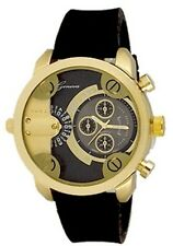 Gold Black Mens Geneva Watch Dual Time Fashion Designer Oversized Little Daddy