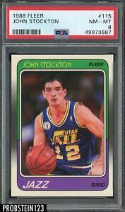 1988 Fleer Basketball #115 John Stockton Utah Jazz RC Rookie HOF PSA 8 NM-MT