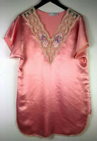 Vtg Val Mode Lingerie Nightgown Negligee Medium Large Pink Lace Satin Bridal