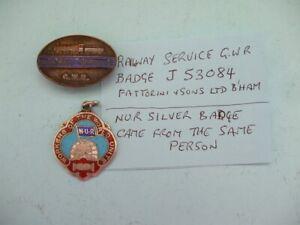 NUR SILVER BADGE PLUS 1 OTHER RAILWAY SERVICE GWR BADGE J53084,FATTORINI & SON