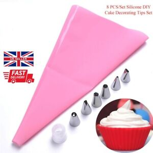 8Pcs/Set Icing Piping Cream Pastry Bag With Steel Nozzles Cake Decorating Kit